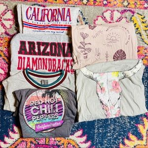 Mixed LOT OF 6 for $25 Graphic Tanks/Tops Szs XS-M